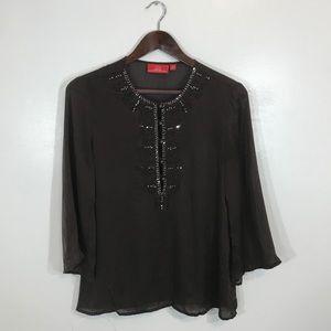 Oscar de la Renta embroidered studded silk blouse